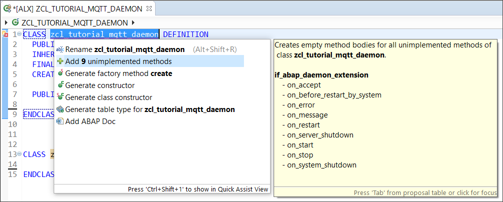 Add unimplemented methods in ABAP Development Tools