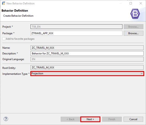 Create behavior definition for projection view