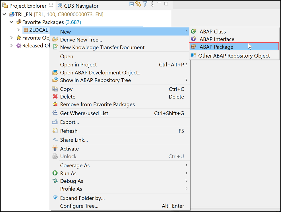 Add ABAP package