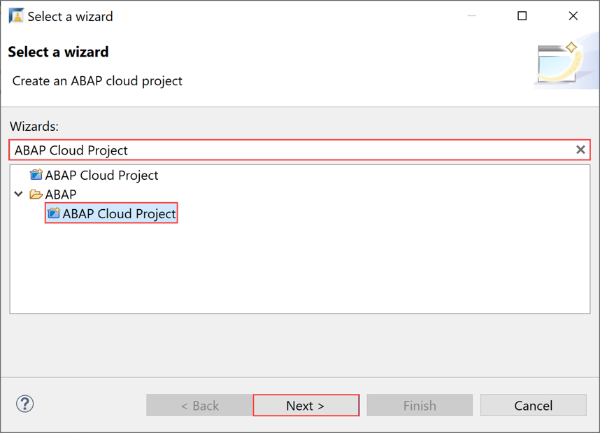 Select ABAP Cloud Project