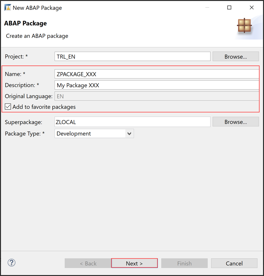 Create ABAP package