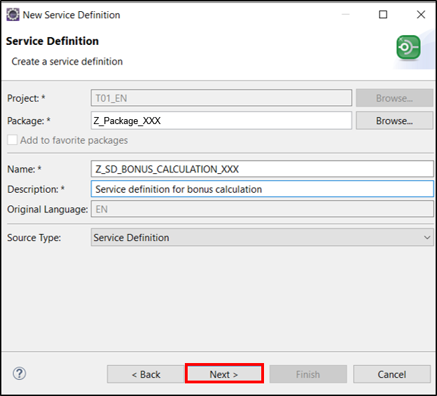 Create service definition for bonus calculation