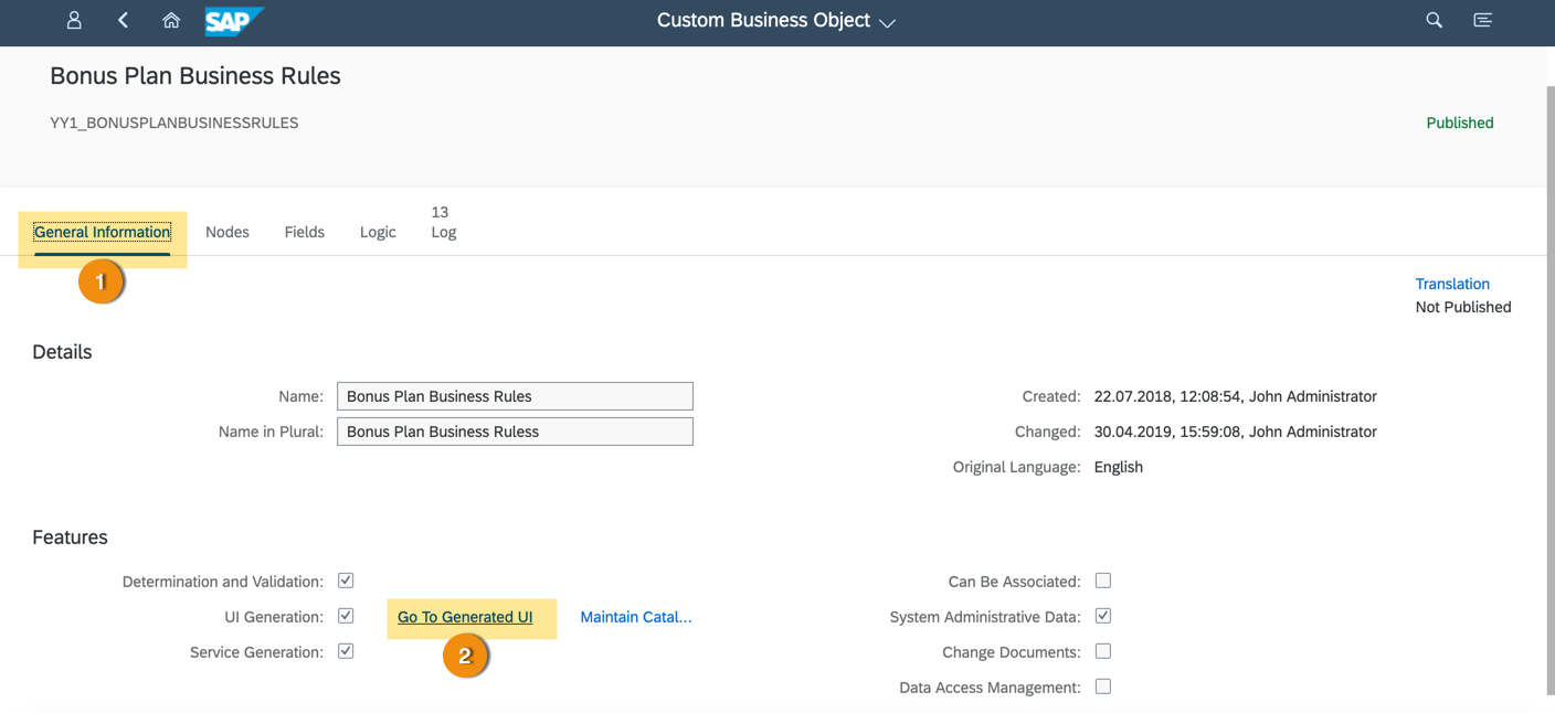 run custom business object