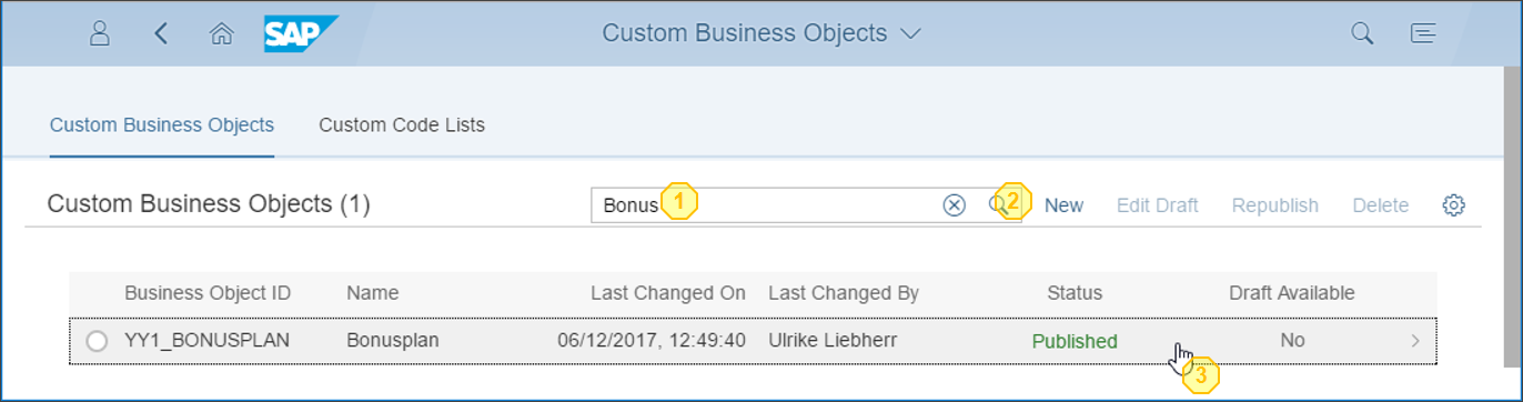 Open Custom Business Object from list