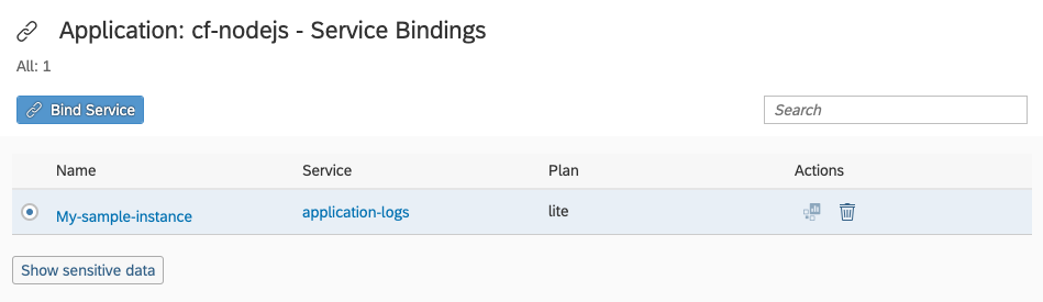 Screenshot of list of service bindings after creation