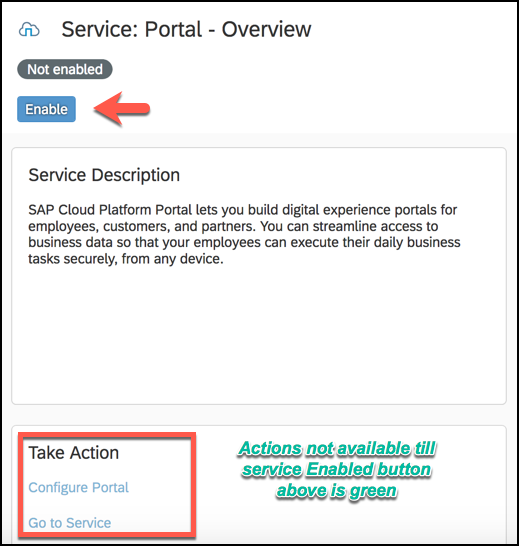 enable button portal service
