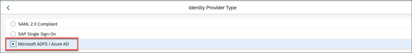 change selection of Identity Provider Type to Azure AD