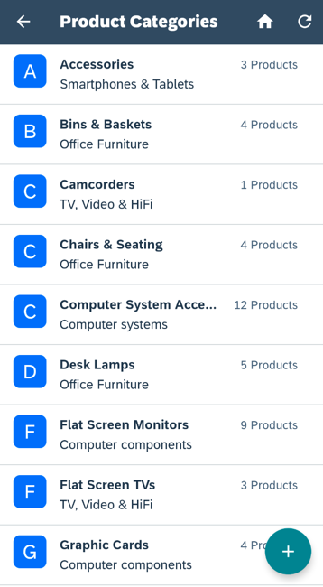 Modified ProductCategories Screen