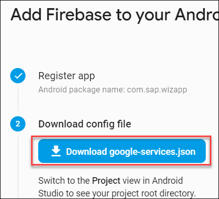 Download google-services.json file