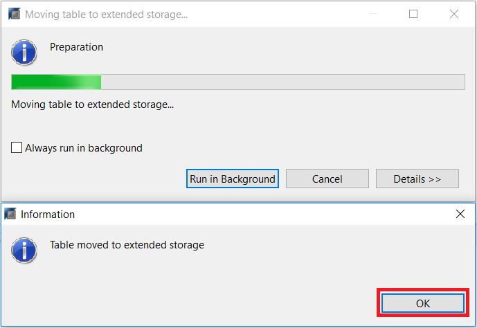 Confirm Using Extended Storage