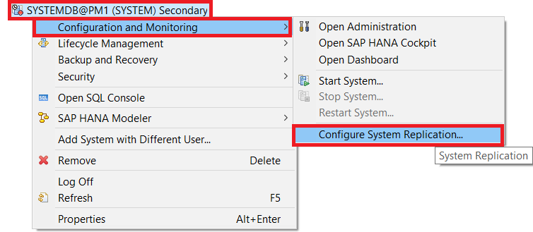 Configure System Replication for the Secondary System