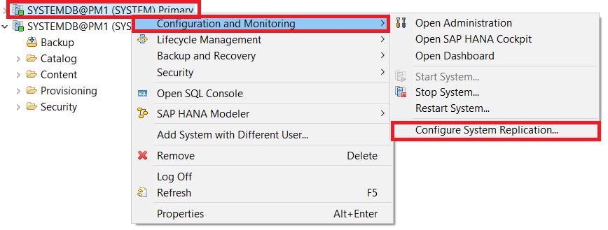 Setting Up SAP HANA System Replication with HANA Studio