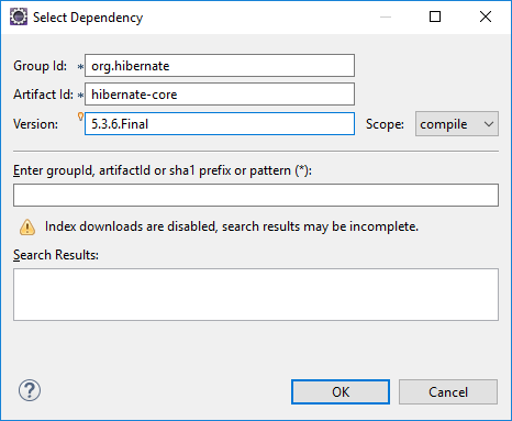 Add Hibernate as a Maven dependency