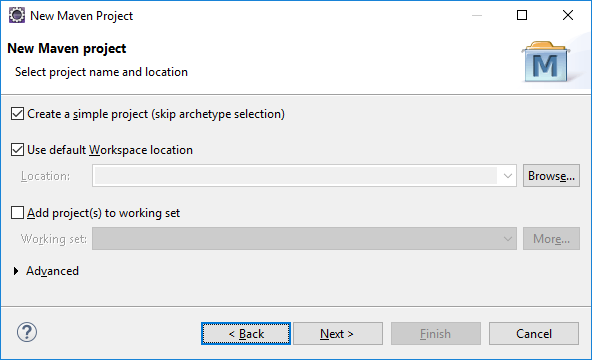 Select project name and location