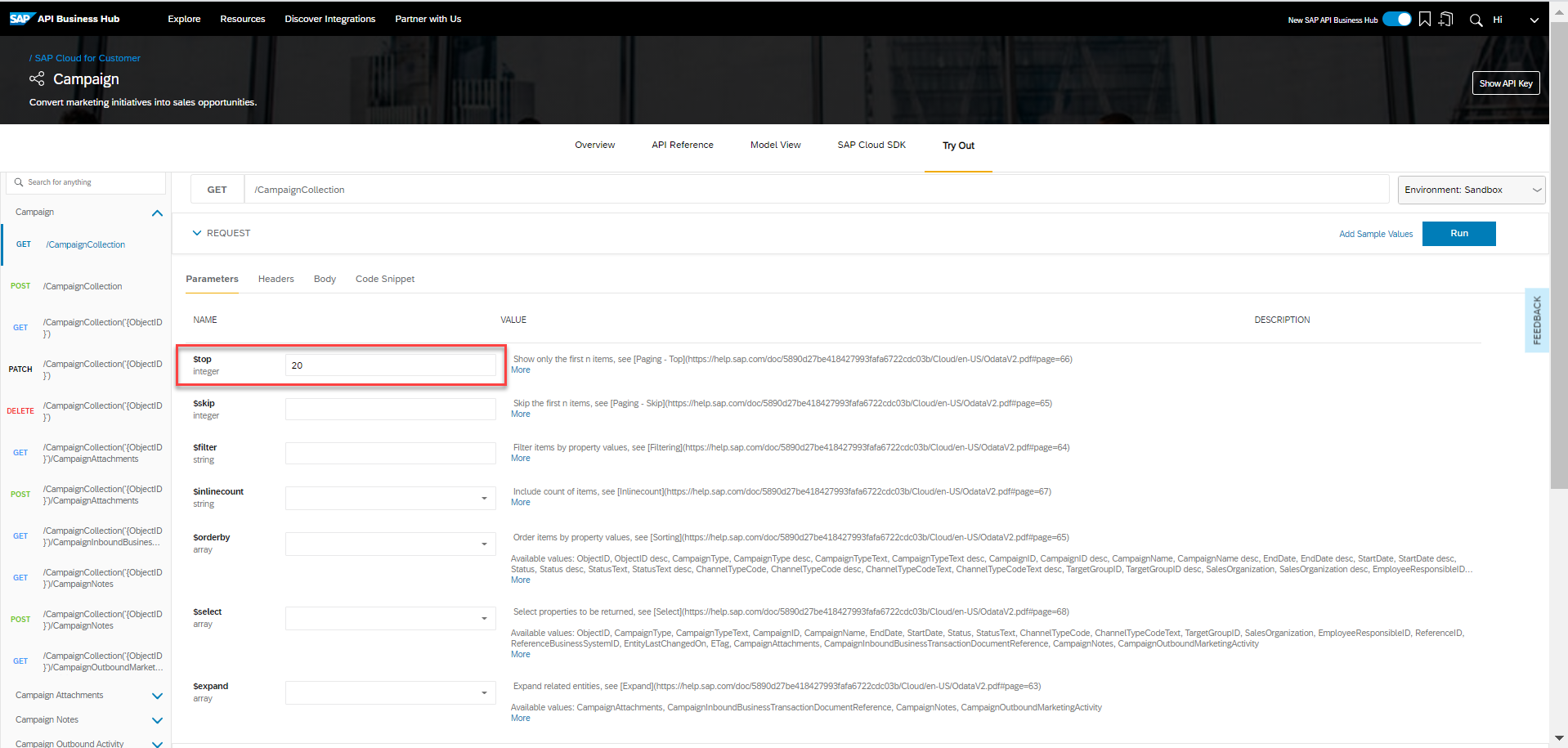 Searching the discover all APIs