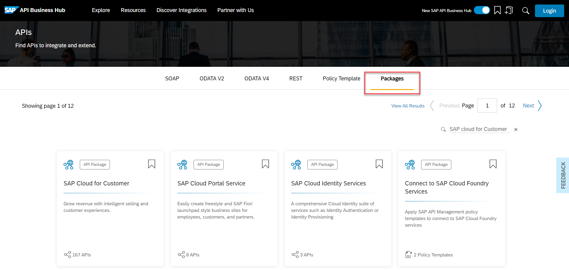 SAP API Business Hub homepage