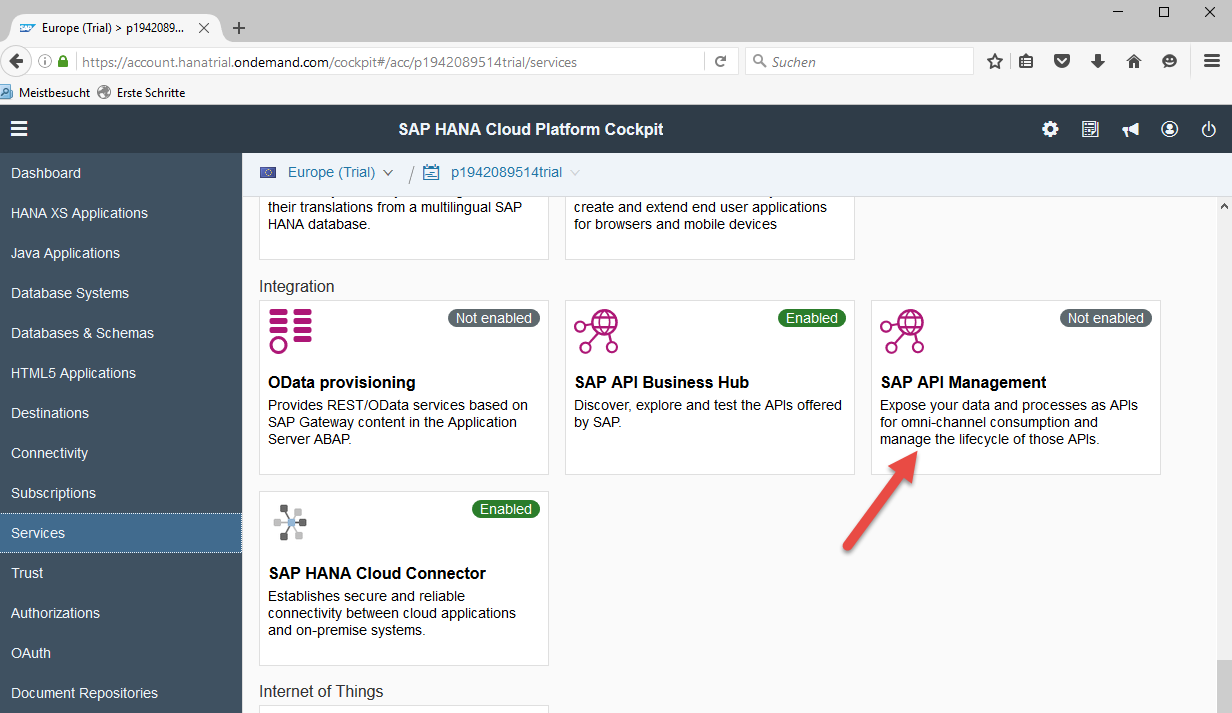 Select SAP API Management