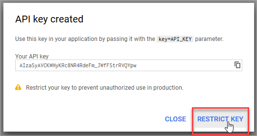 Restrict the API key