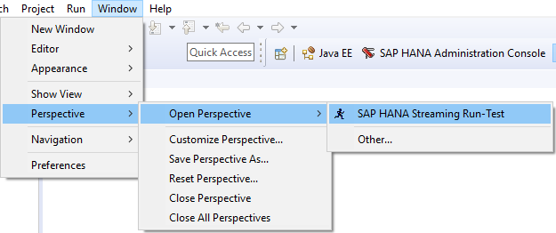SAP HANA Streaming Run-Test perspective