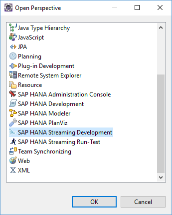 SAP HANA Streaming Development perspective