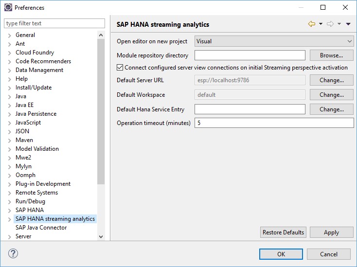 SAP HANA streaming analytics preferences