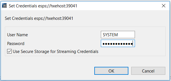 Enter the credentials for SYSTEM