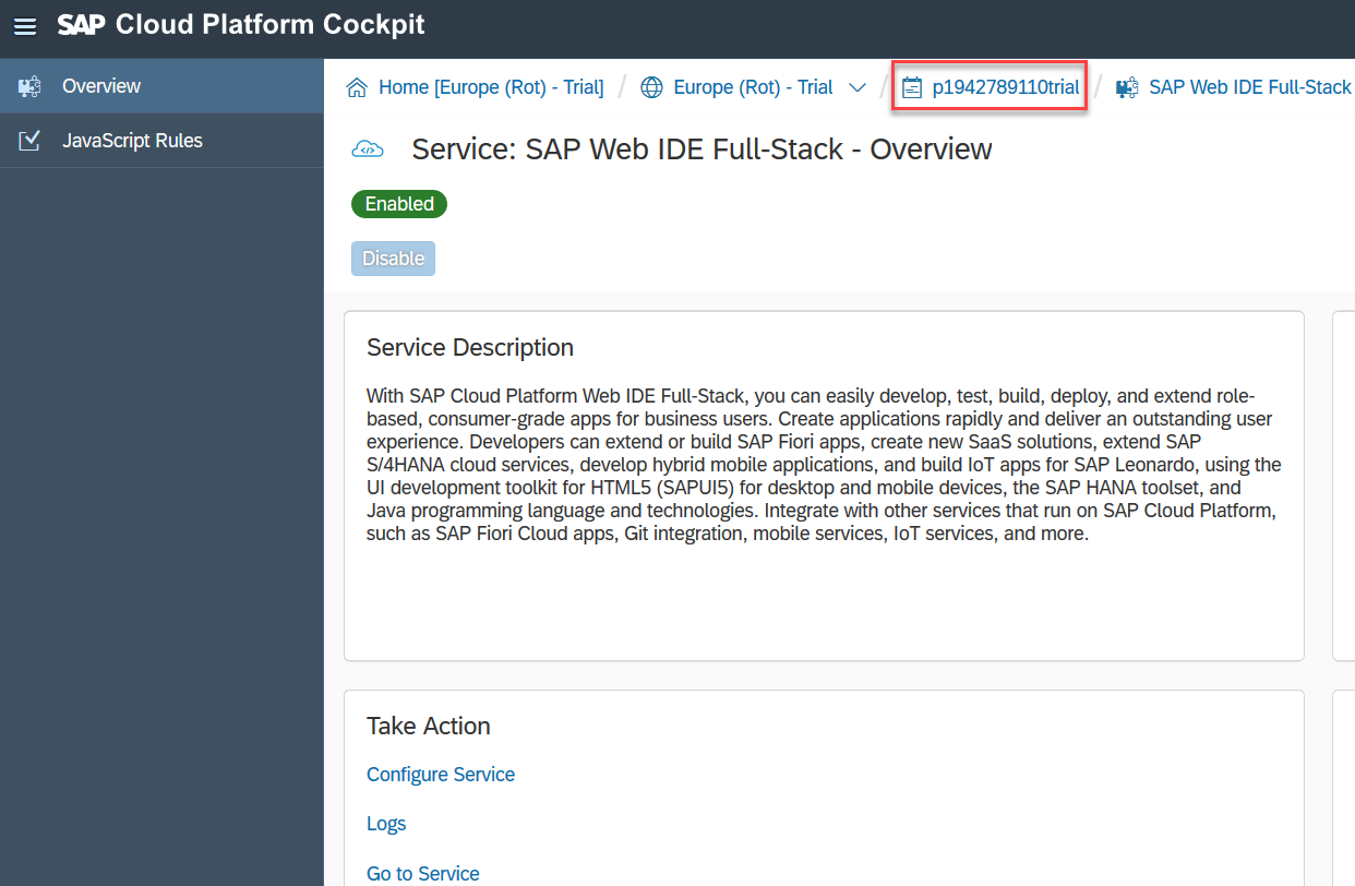 User ID in SAP Cloud Platform cockpit