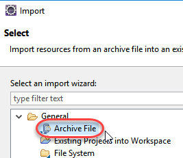 Choose archive file for import