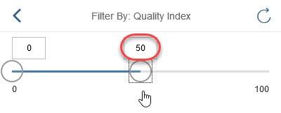 Adjust quality index slider