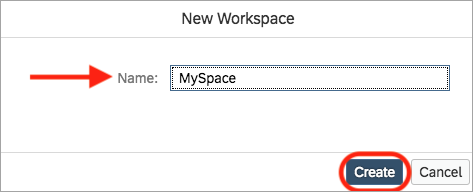 new workspace dialog box