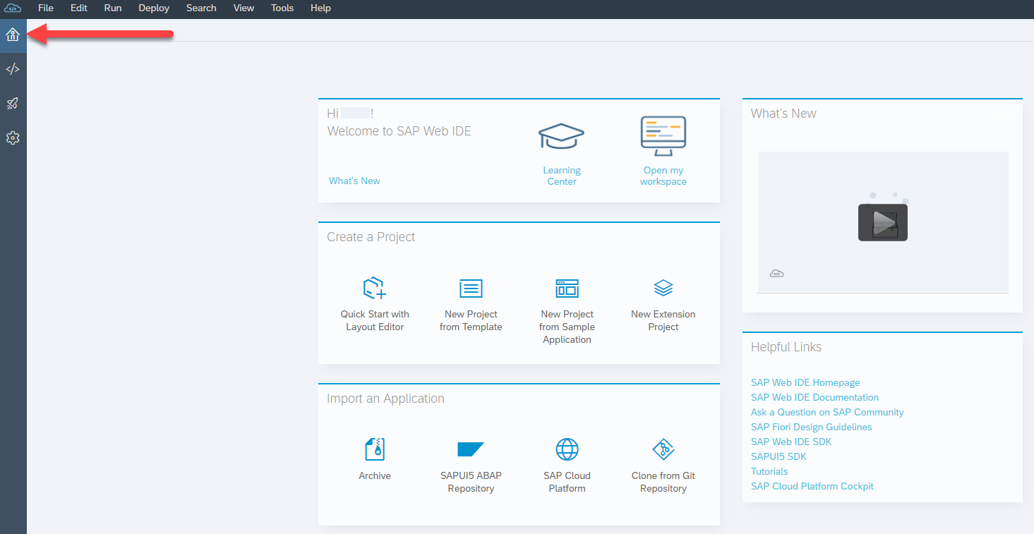 SAP Web IDE homepage with home icon highlighted