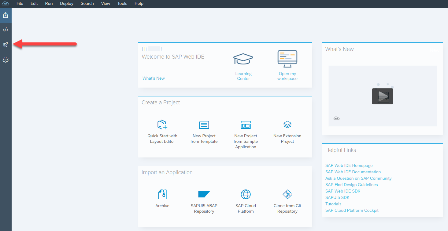 SAP Web IDE homepage with rocket ship icon highlighted