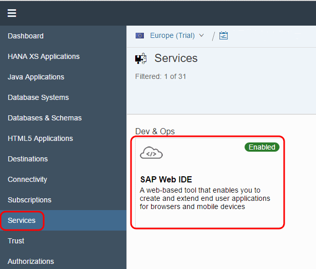 Find SAP Web IDE