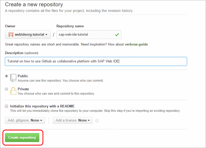 Create a Git Repository in a GitHub Organization