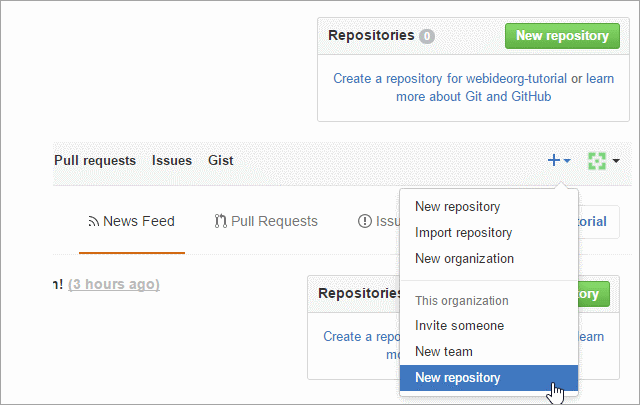 Create new repository under an organization