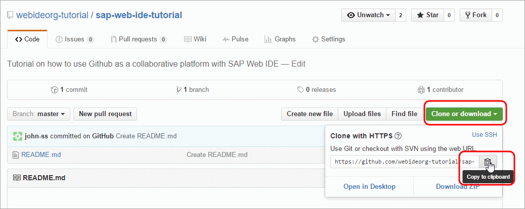 Create a Project in SAP Web IDE and Push into GitHub