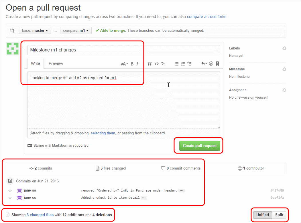 how to create pull request github