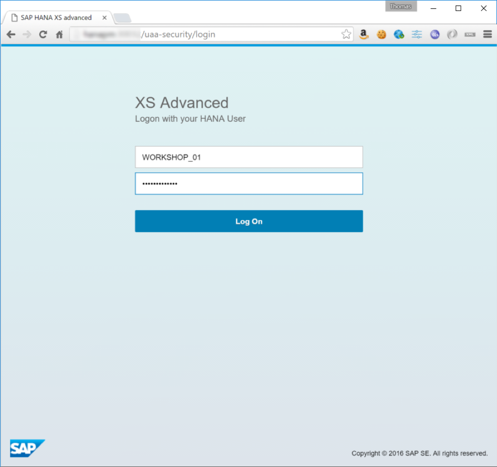 Log in to SAP Web IDE for SAP HANA