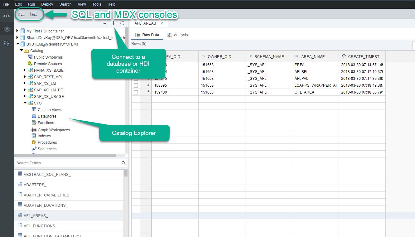 SAP HANA XS Advanced, explore the basic tools