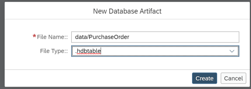 New HDBtable called PurchaseOrder